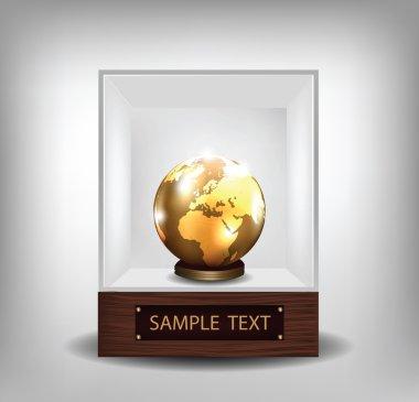 golden globe in glass exhibition