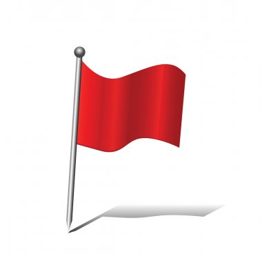GPS Red pin flag icon isolated on white background editable