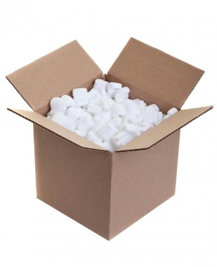 Cardboard box with styrofoam packing peanuts on white stock vector