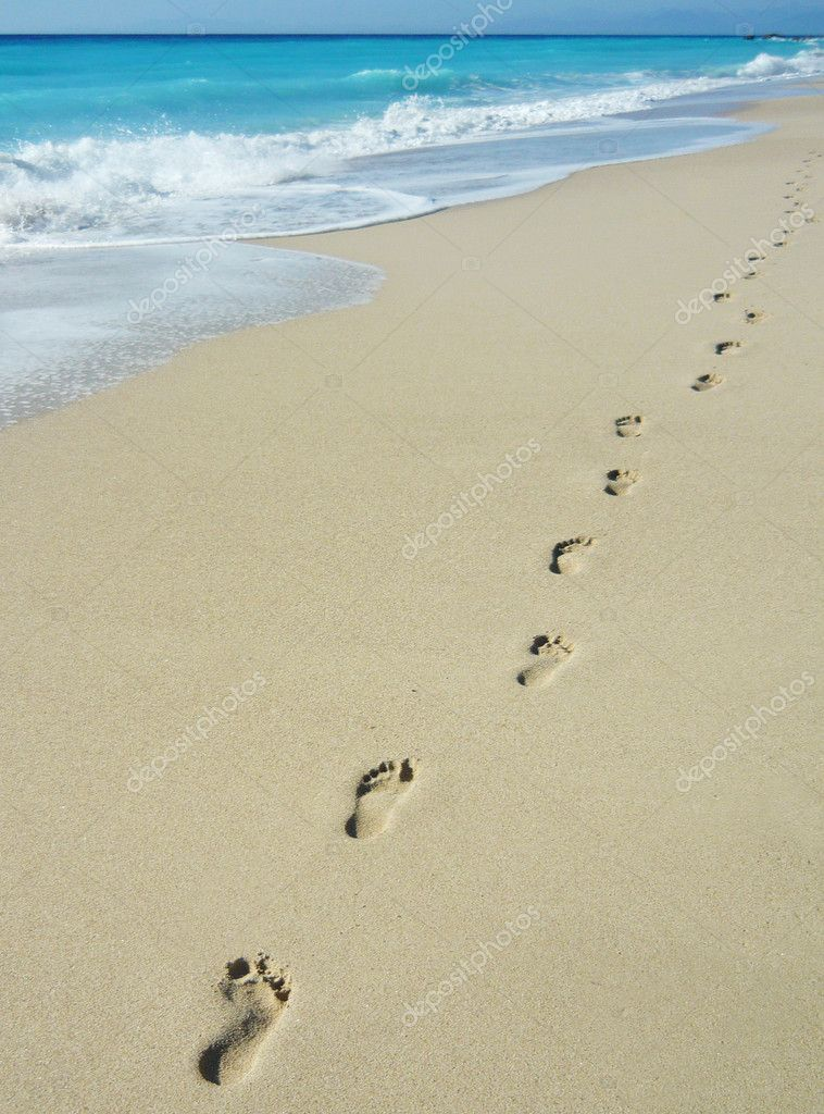 Coastline with footprints