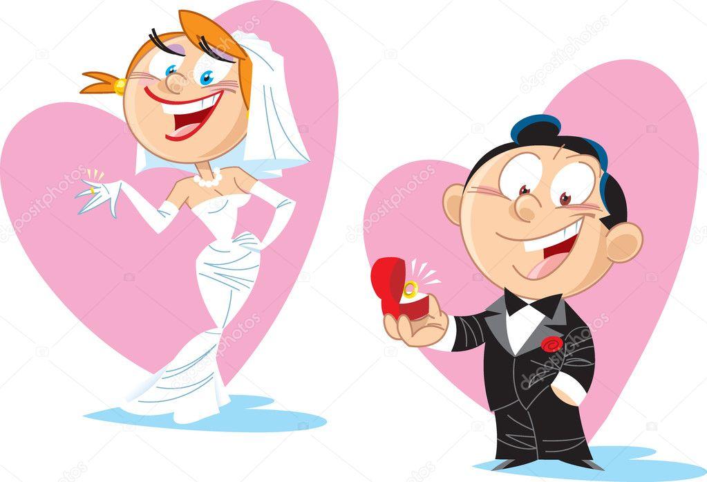 Cartoon bride and groom — stock vector verzhy