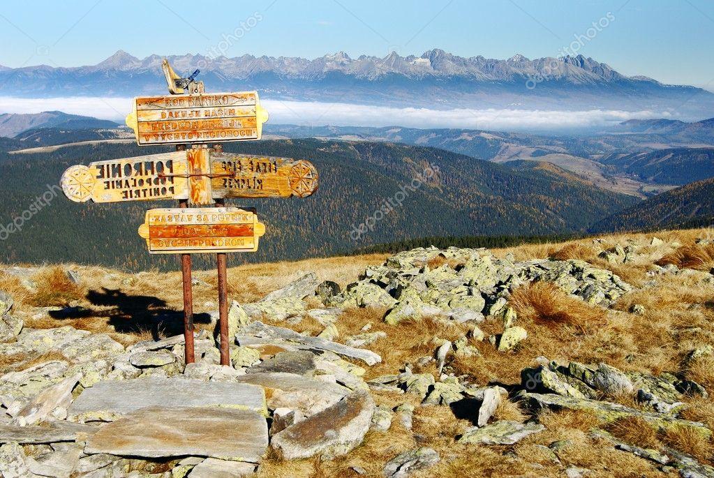 Guidepost in Tatra national park