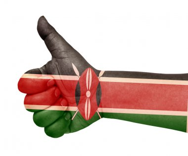 Kenya flag on thumb up gesture like icon