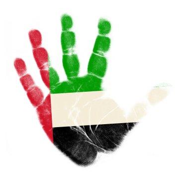 UAE flag palm print isolated on white background