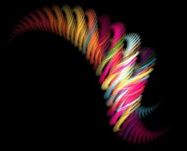 Huge abstract fractal wave on black background