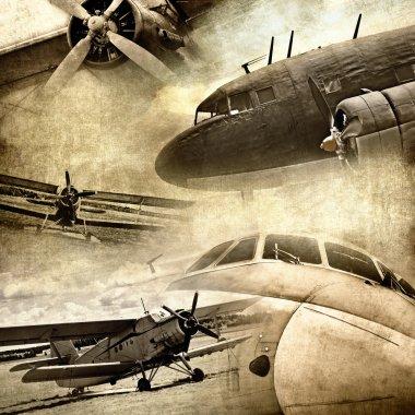 Retro aviation, grunge background stock vector
