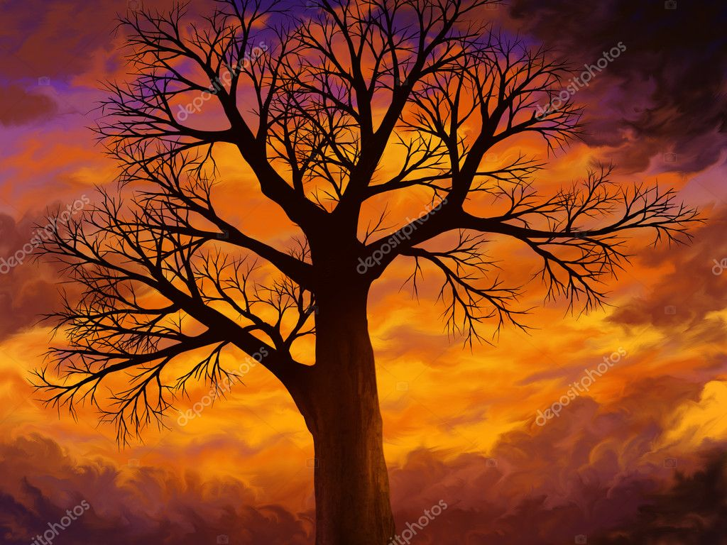 Bright Orange Sunset Dead Tree - Digital Art