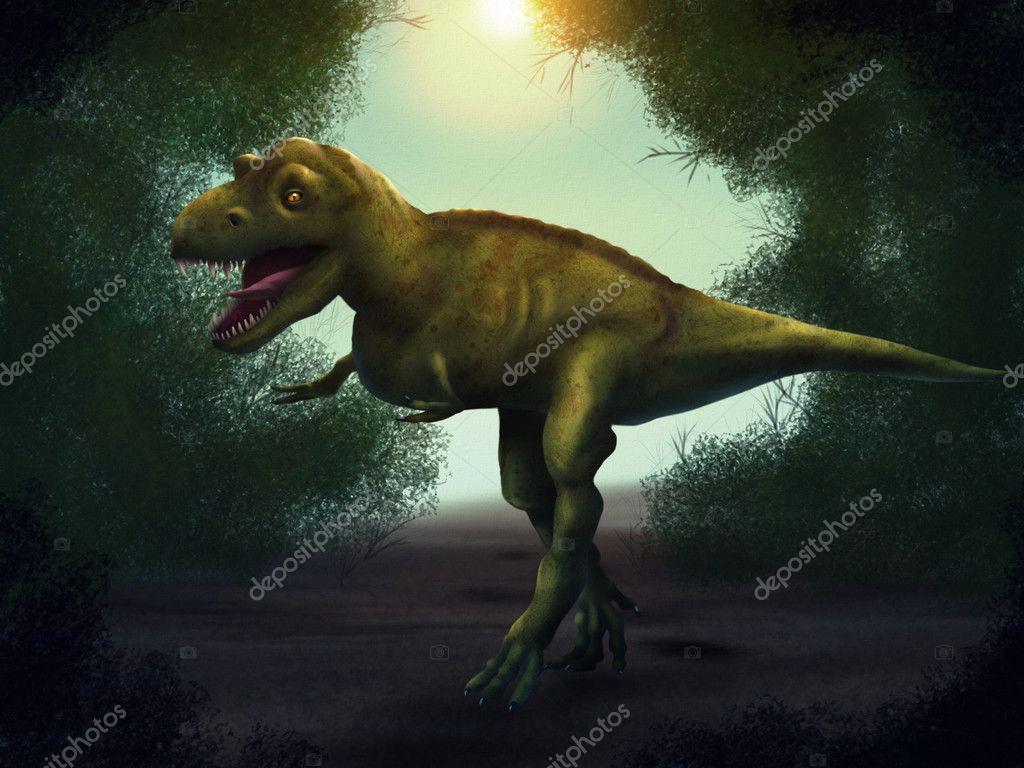 Tyrannosaurus Rex Dijital Boyama Stok Foto Aaronrutten 9819379