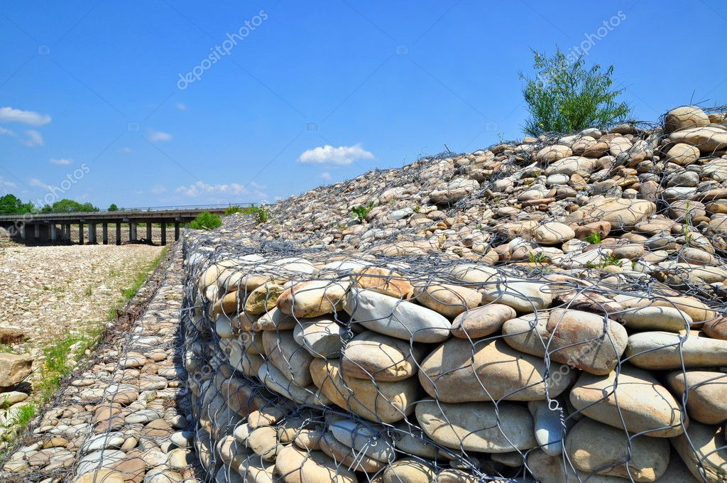 Gabion on the bank of the river