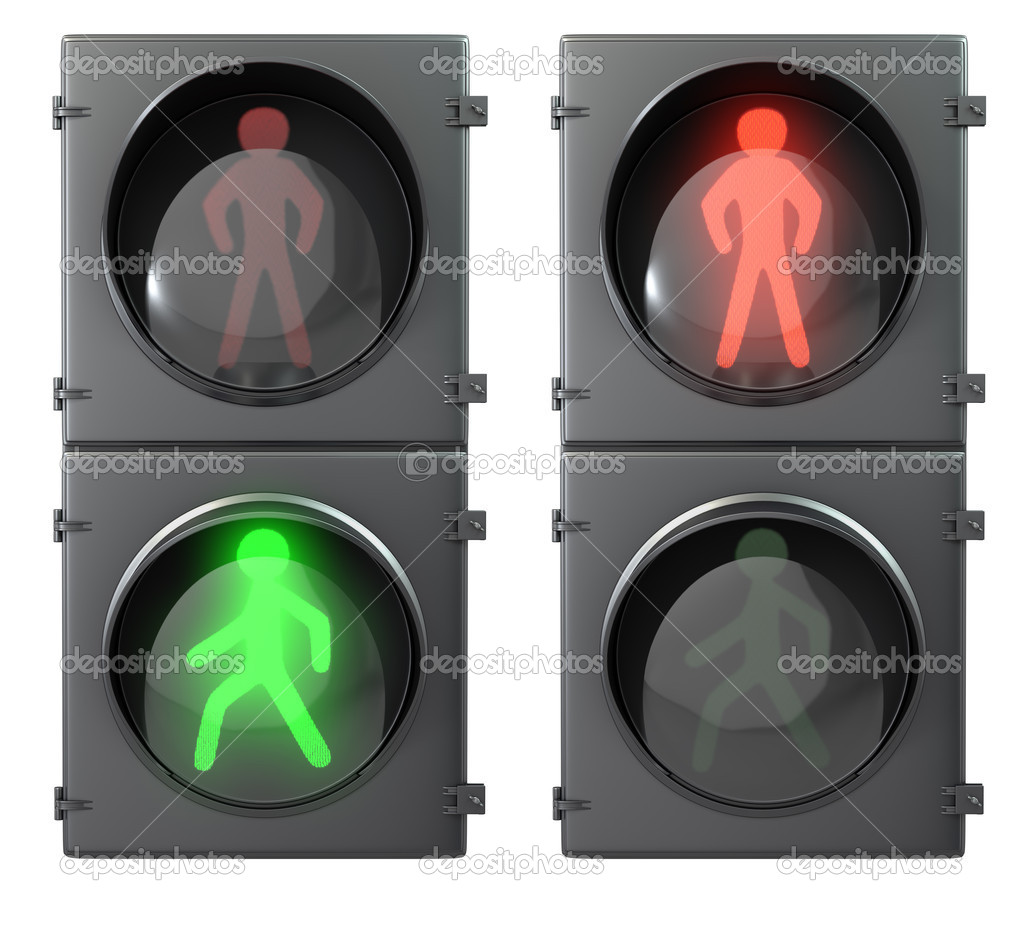 Set of pedestrian light lights with walk and go lights,front vie