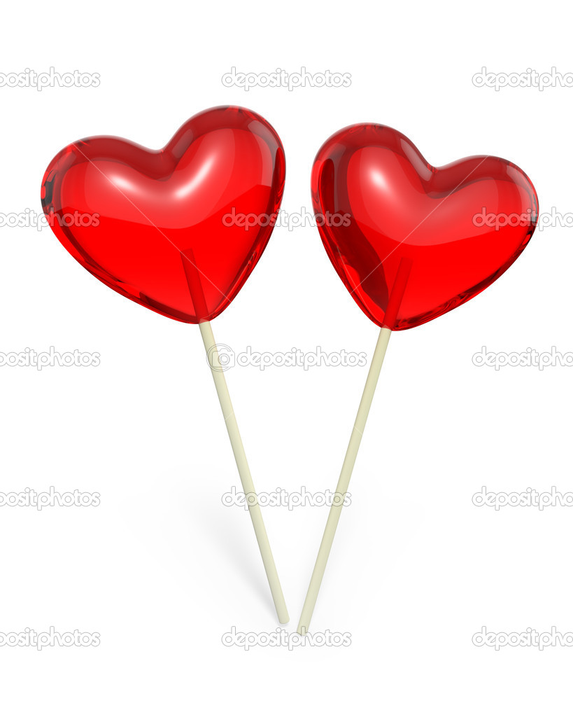 Valentines Day Candy - Lollypop heart shaped lollipops isolated on ...