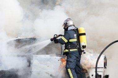 Firefighters working