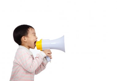 Asian kid shouts something into the megaphone
