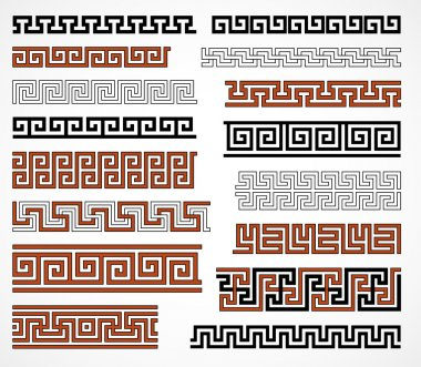 Set of ancient greek style borders for design stock vector