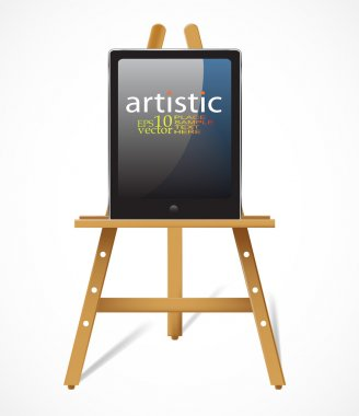 Easel with tablet pc:digital art concept
