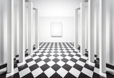 Hall with columns and blank canvas