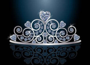 Tiara or diadem with reflection, vector illustration