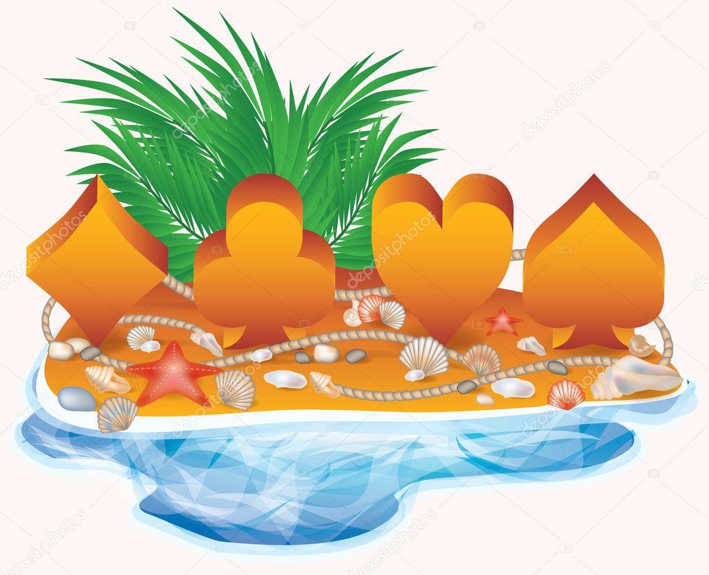 Summer poker banner, vector illustration