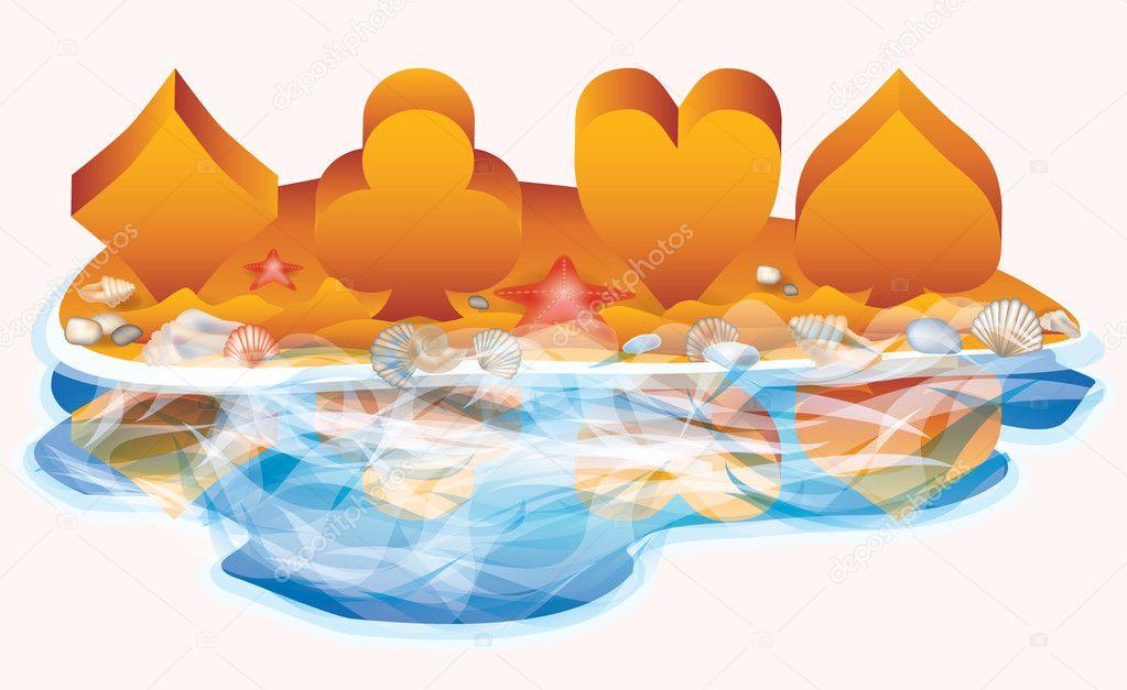 Summer casino banner, vector illustration