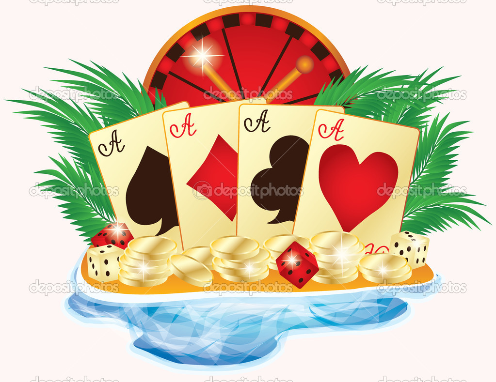 Casino summer banner, vector illustration