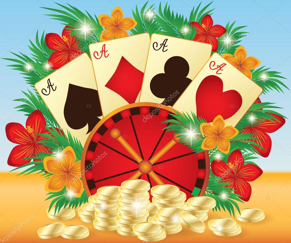 Summer casino card, vector illustration