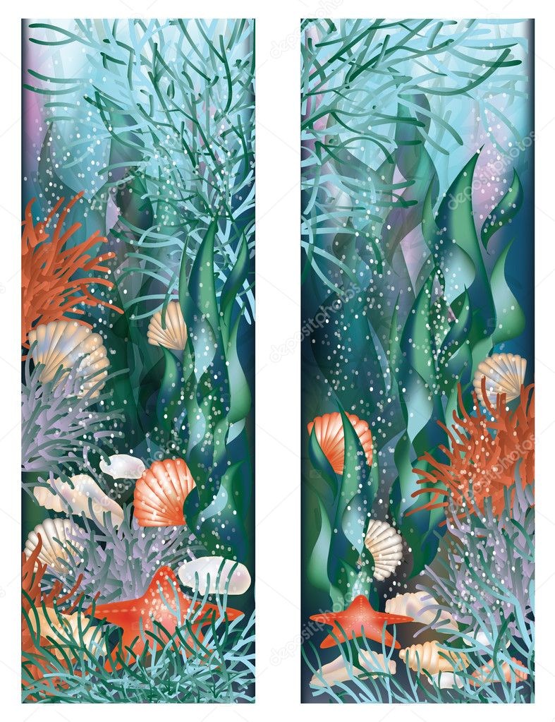 Two banners. Underwater world. vector illustration