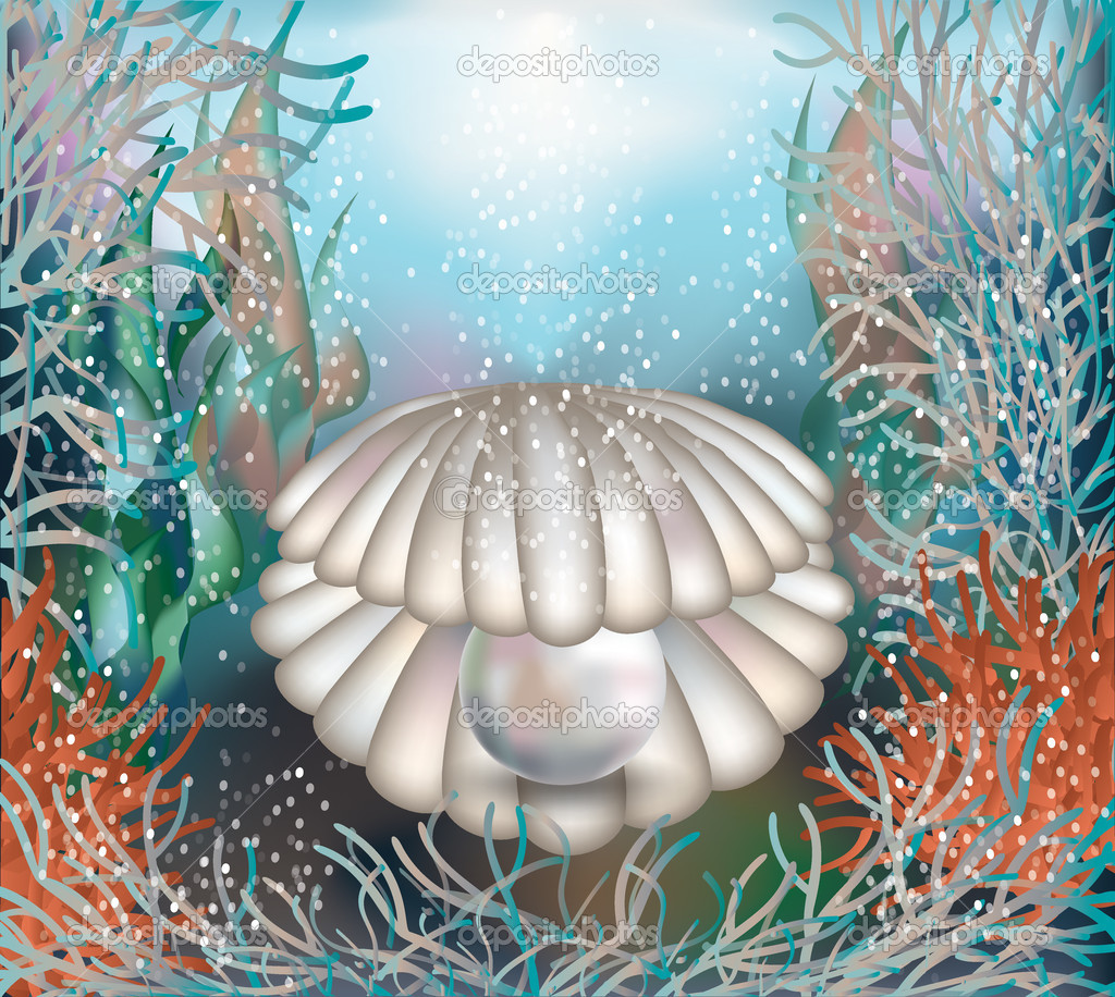 Underwater card shell with a pearl vector illustration