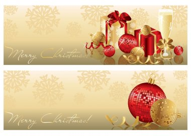 Golden red Christmas banners. vector