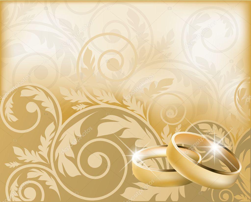Invitaci 243 N De Boda Con Anillos De Oro Ilustraci 243 N