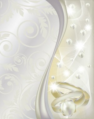 Wedding banner with two rings, vector illustration