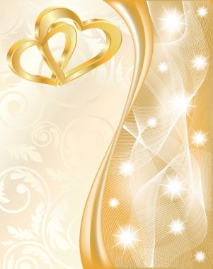 Wedding card with two golden hearts, vector illustration