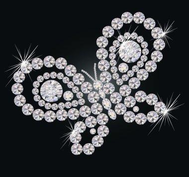 Beautiful diamond butterfly, vector illustration