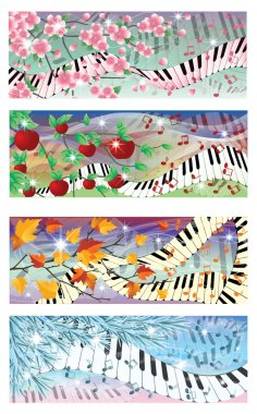 Symphony of four season banners, vector illustration