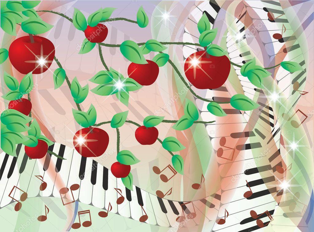 Melody summer card, vector illustration