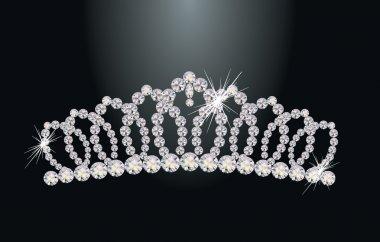Beautiful diamond princess diadem, vector illustration