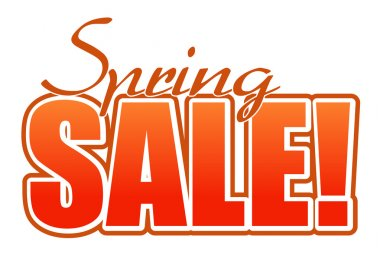 Spring sale orange illustration sign over white background