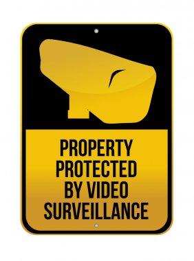 Camera Surveillance sign illustration design over a white background