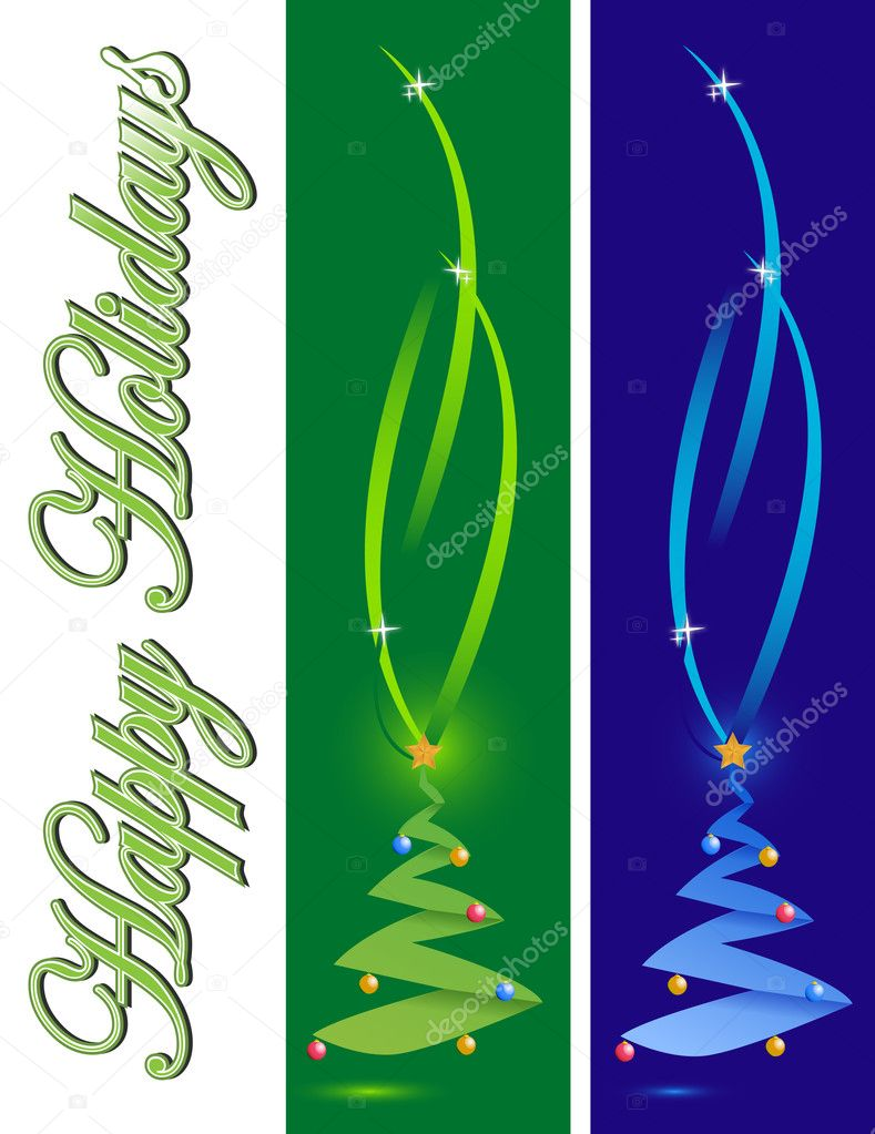 Happy holiday card with two different color christmas trees. merry ...