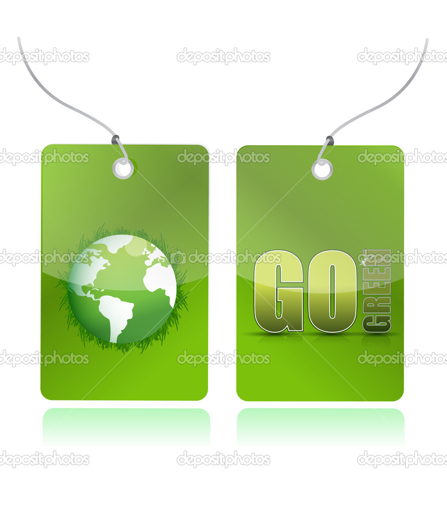 Eco green illustration tags design over white