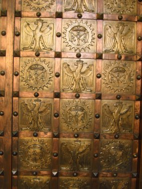 Fragment of decorative door as a backdrop, Czestochowa monastery