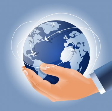 Globe with airplanes march routes in a businessman