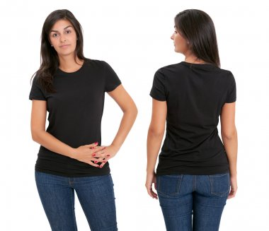 Woman standing with blank black shirt