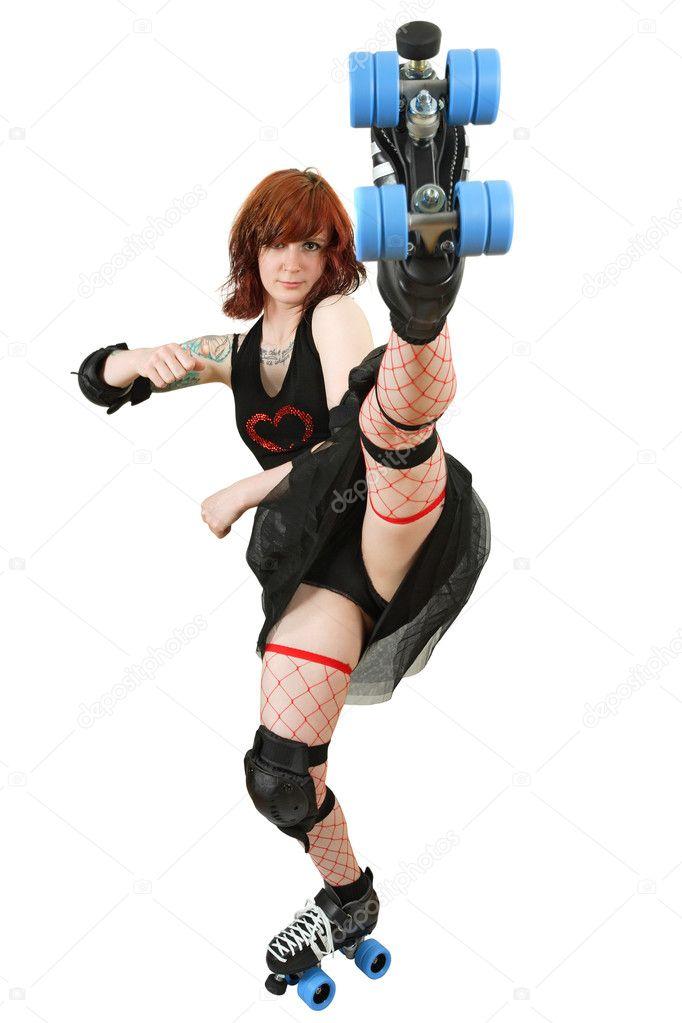Roller derby girl kicking
