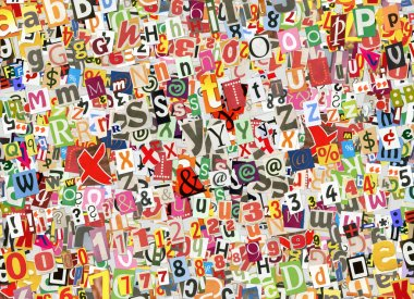 Colorful letters collage