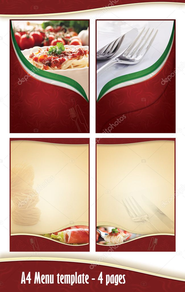 plantilla de menú de 4 páginas A4 - restaurante italiano — Fotos ...
