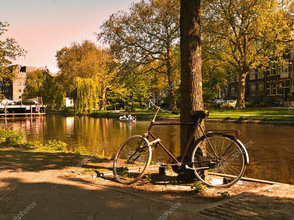 Scenic Bycicle in an Amsterdam Canal