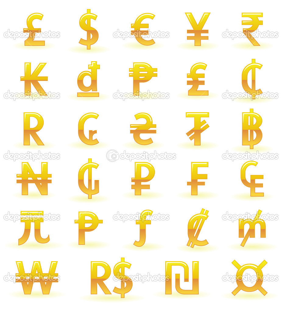Currency Symbols Of The World Stock Vector Bastetamon 8856474