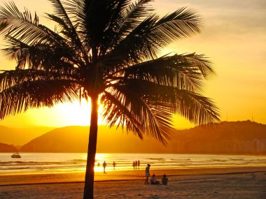 Beautiful golden sunset on the beach of the city of santos in brazil