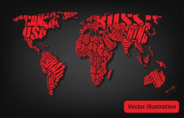 World map drawn by typography