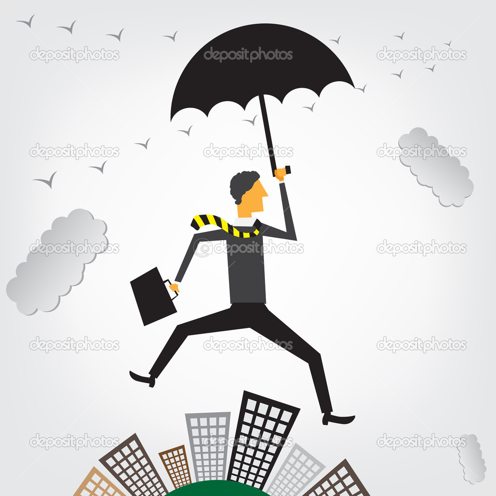 Businessman flying over a cityscape